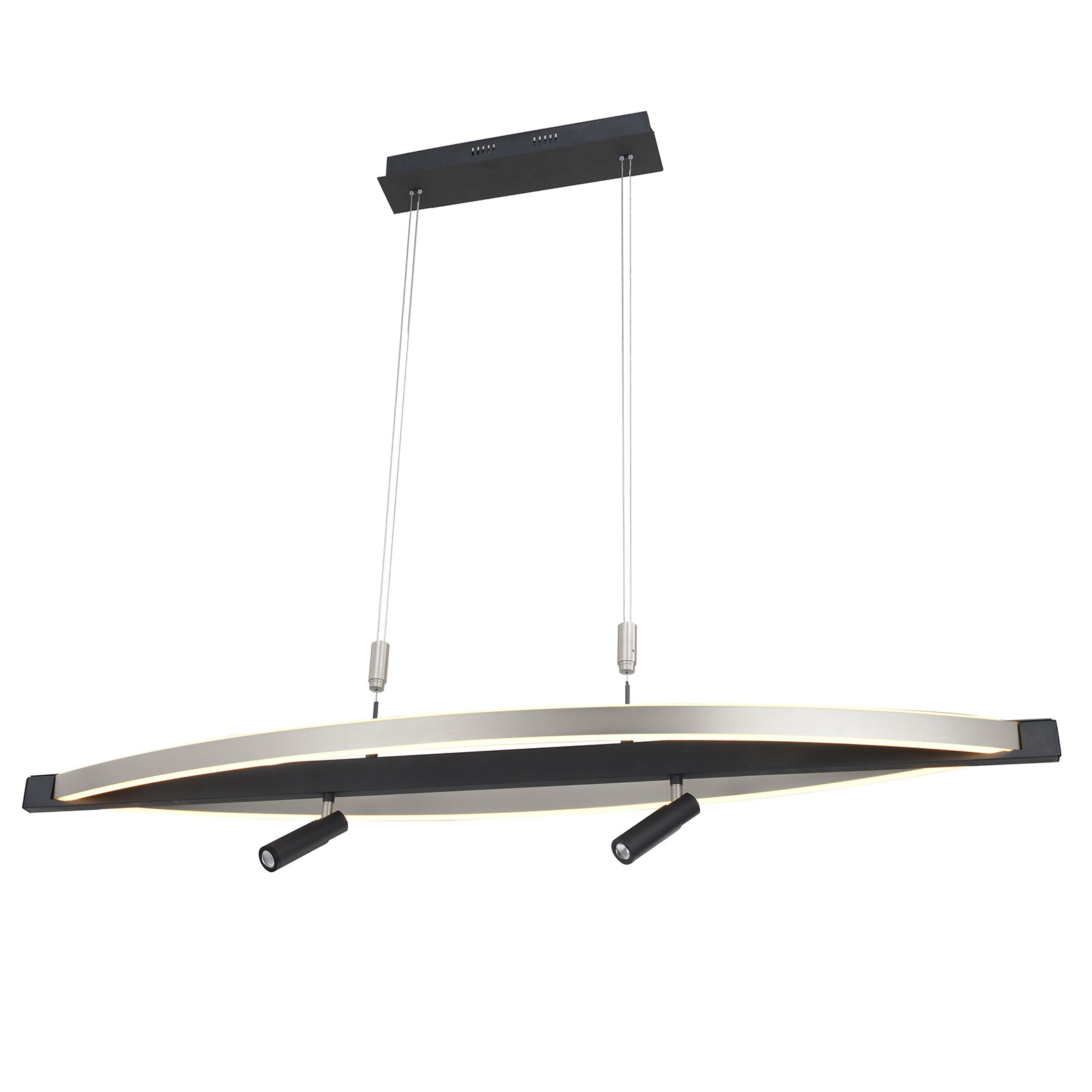 Lucande Matwei LED-pendellampe, oval, nikkel