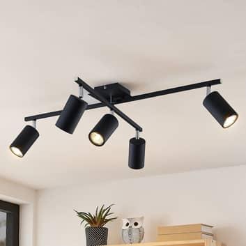 Lindby Ebardo lampa sufitowa, 5-punktowa, czarna