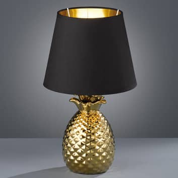 Bordlampe Pineapple i keramikk i gull og svart