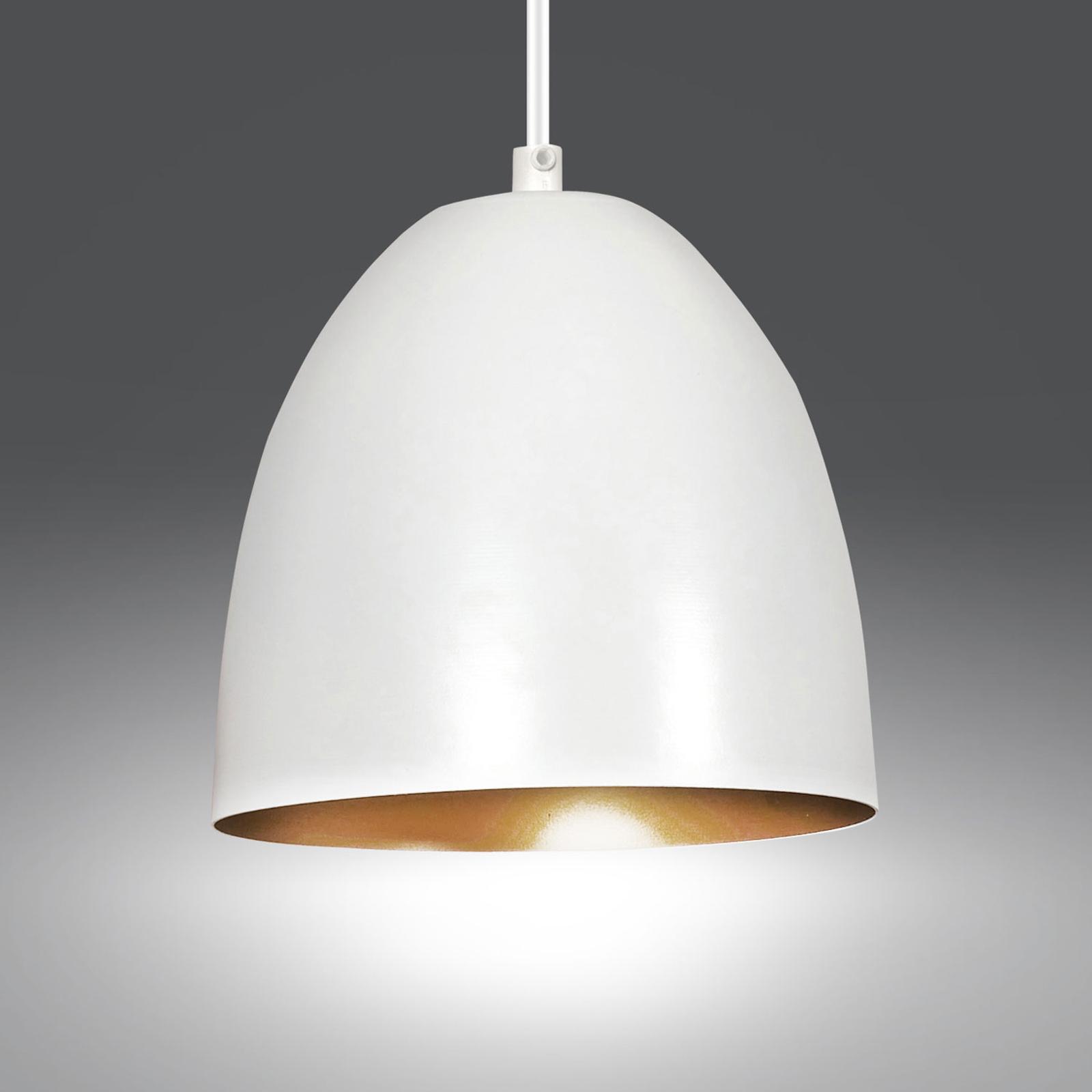 Hanglamp Lenox van staal, 1-lamp, wit/goud