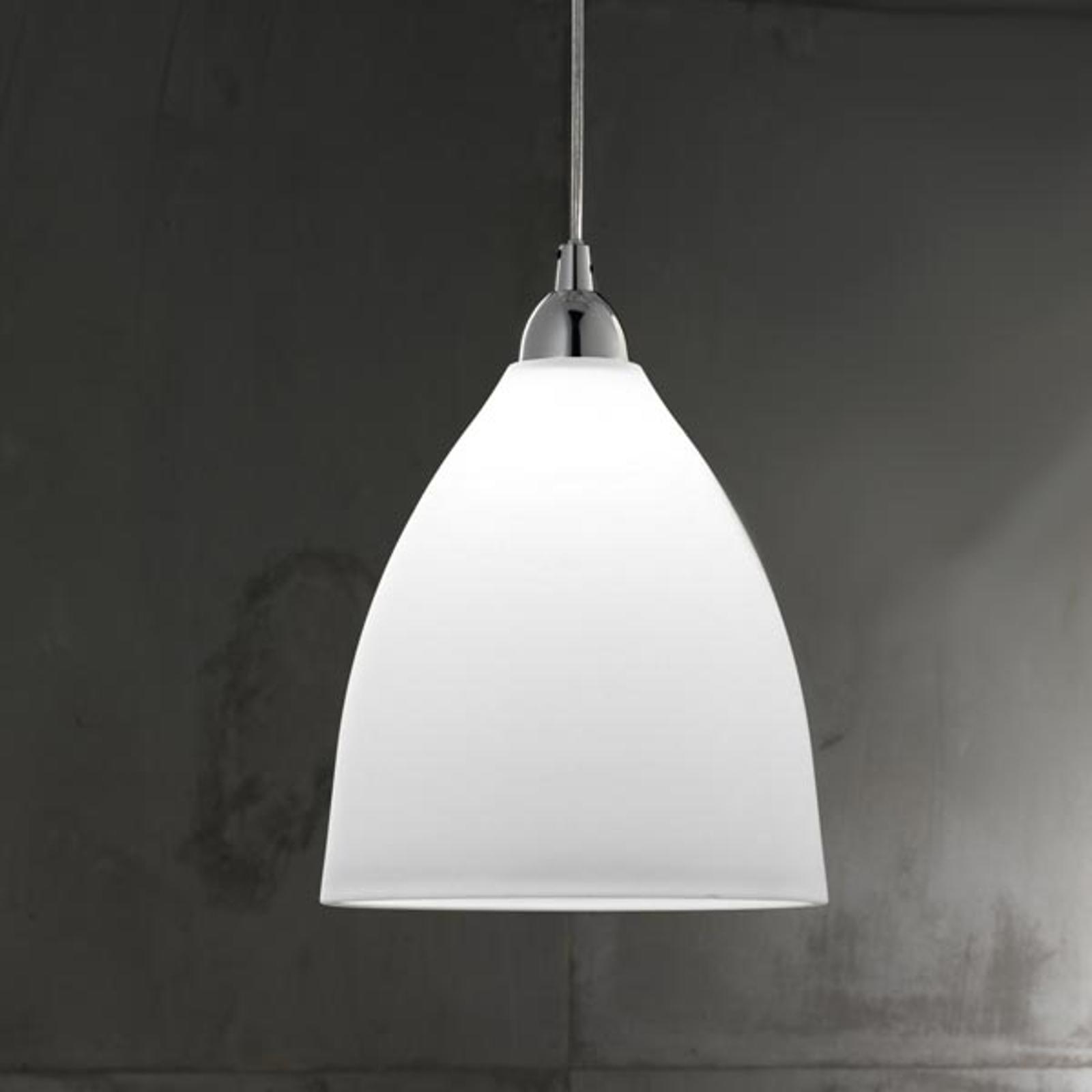 Sklenená závesná lampa PROVENZA 20 cm biela