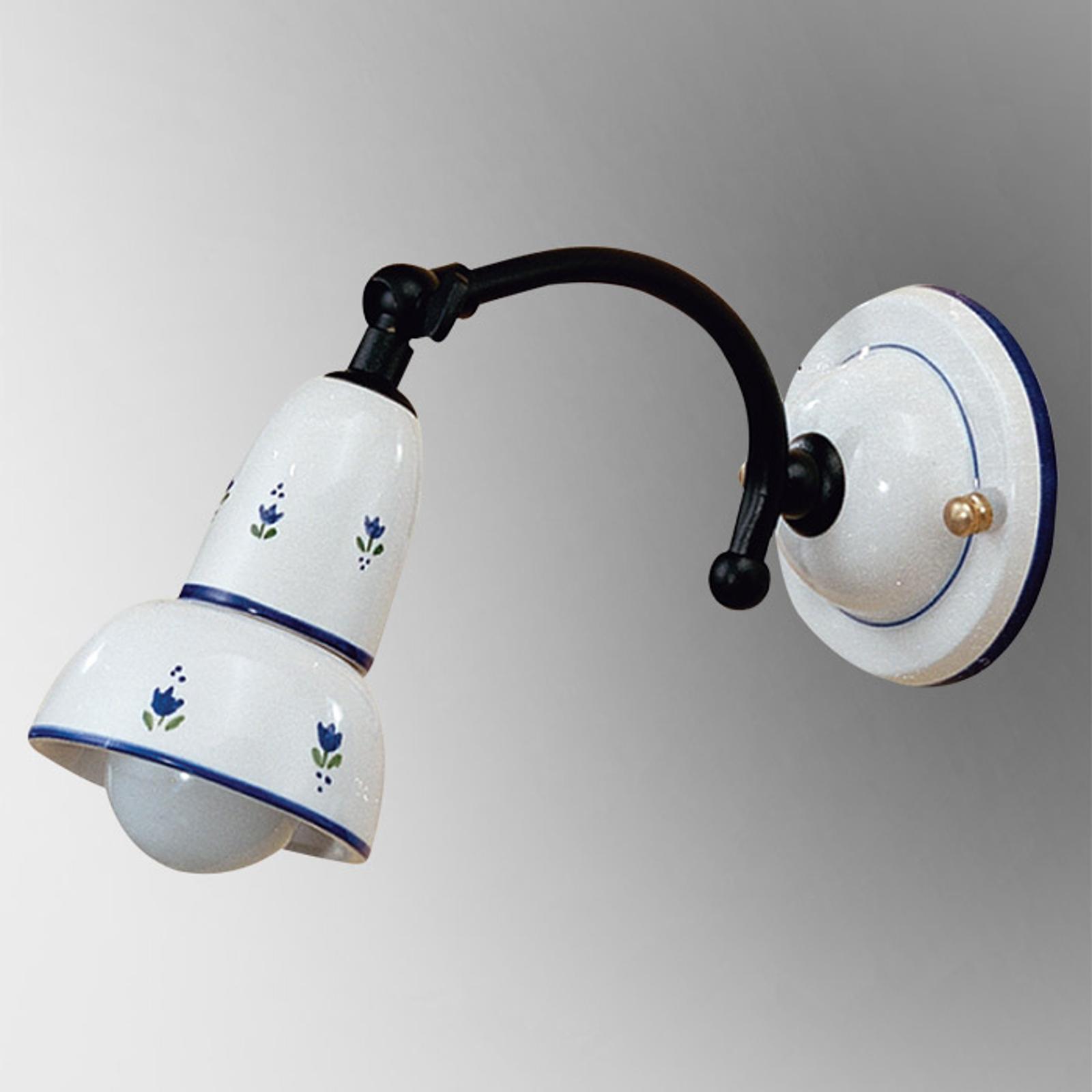Blåmønstret væglampe Ella m. justerbart lampehoved