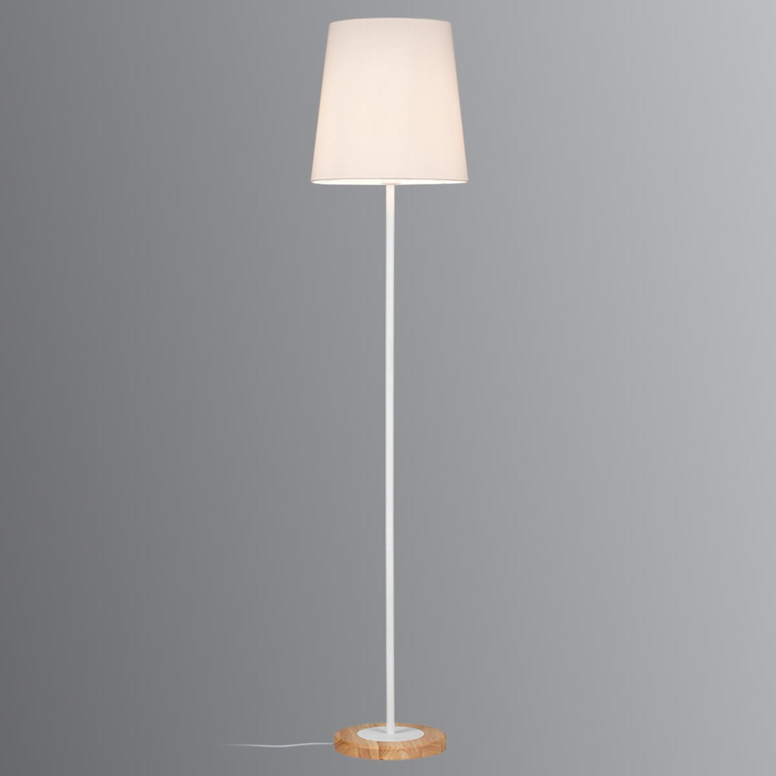 Z drewnianym detalem - lampa stojąca Stellan