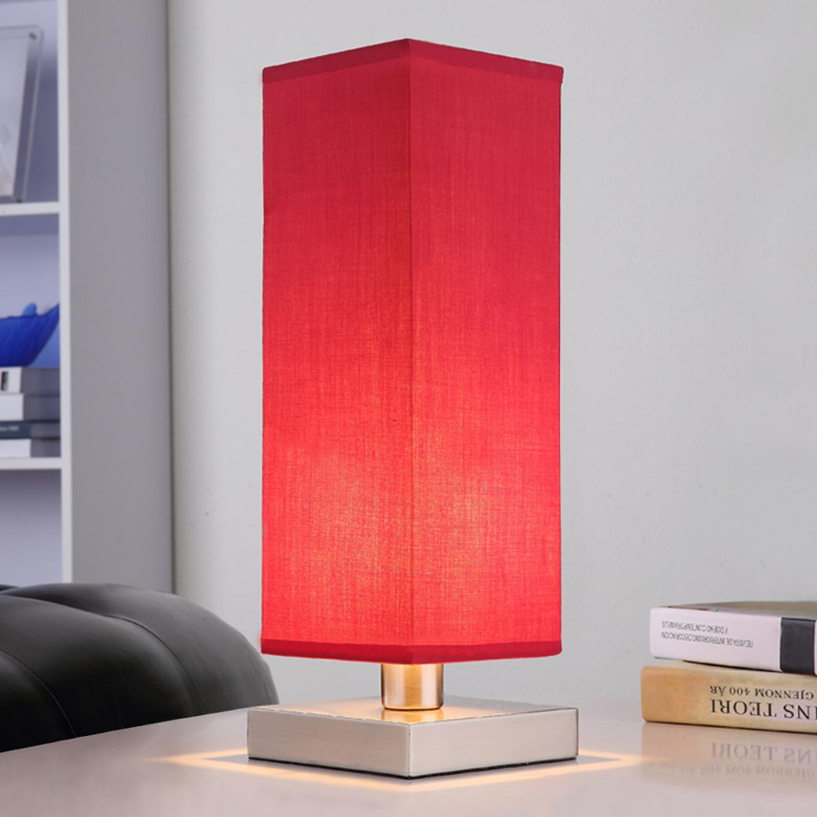 Rød nattbordlampe Julina med stoffskjerm