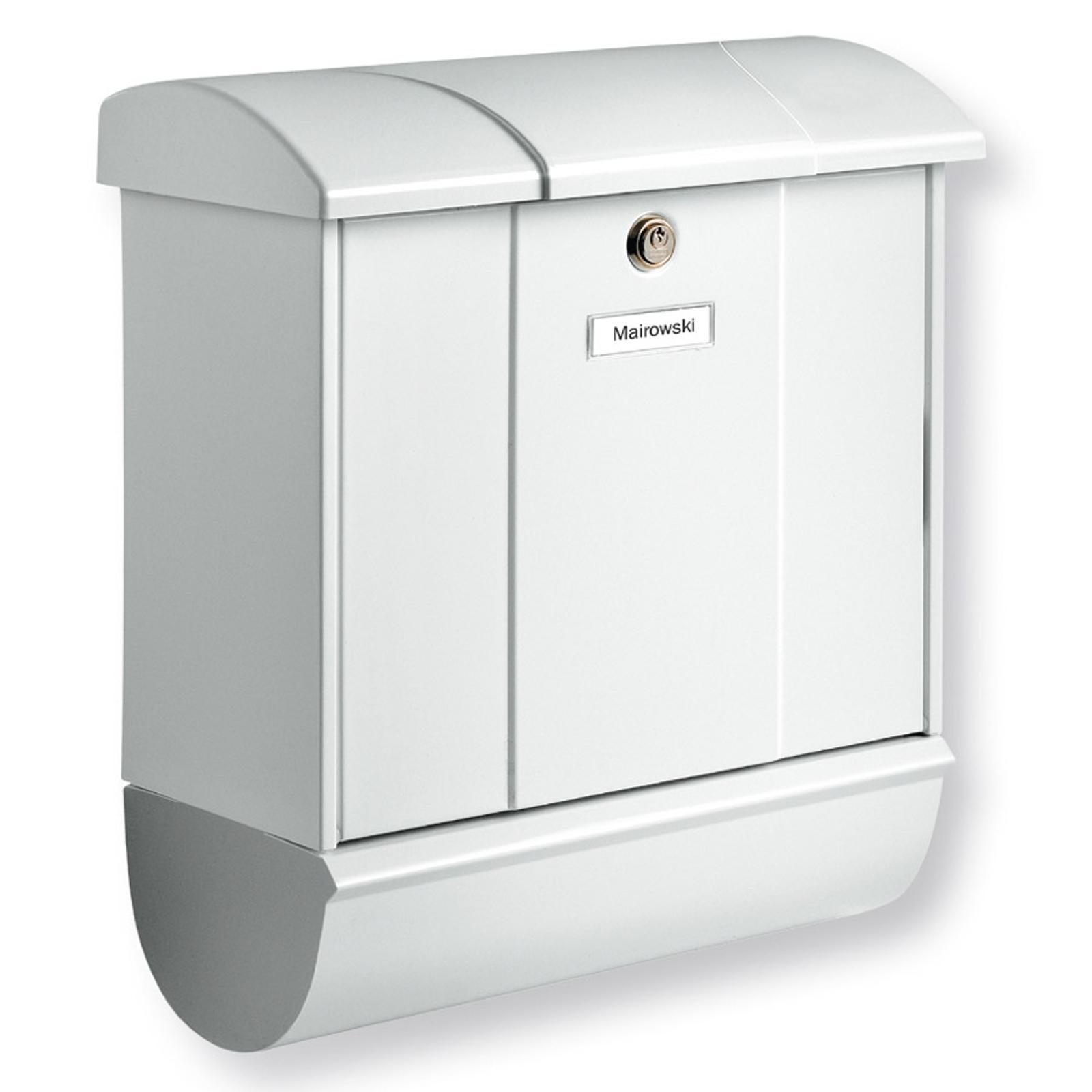 Postboks Olymp med avisrør, hvit