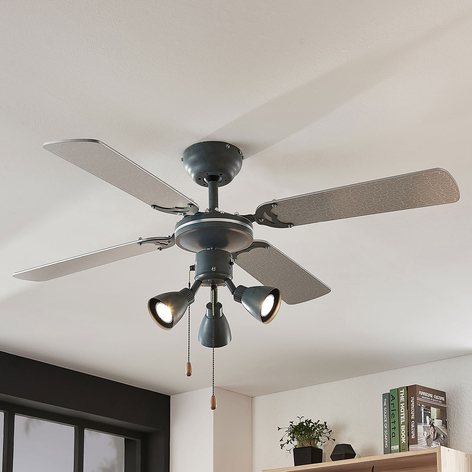 Ventilátor Anneke, osvětlený, stříbrný, šedý