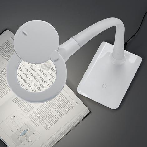 Z podstawą - lampa LED Lupo z lupą, biała