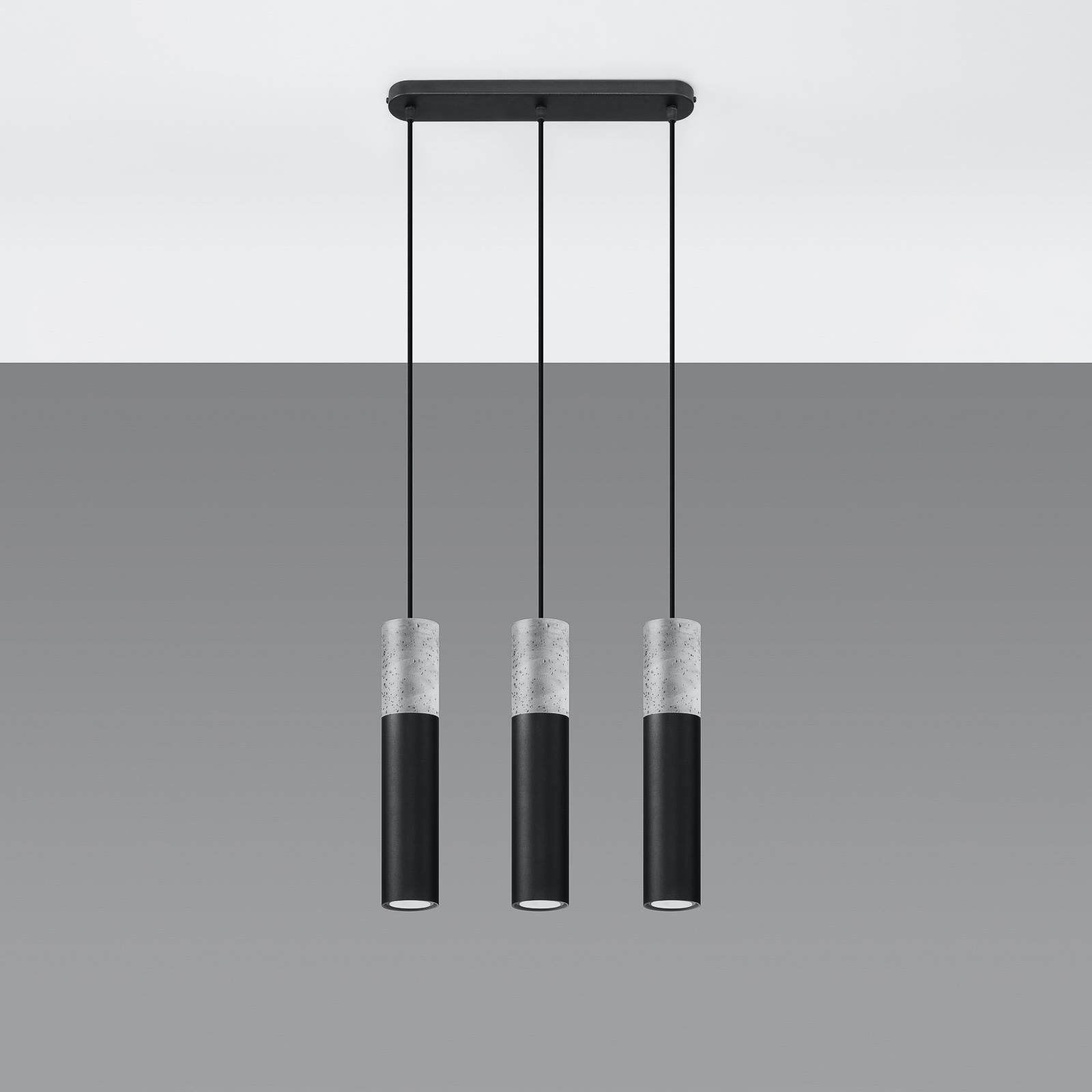 Hanglamp Tube, beton, zwart, 3-lamps