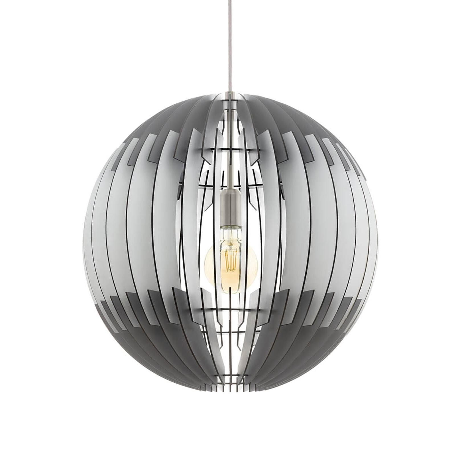 Zwart-witte hanglamp Olmero van lamellen