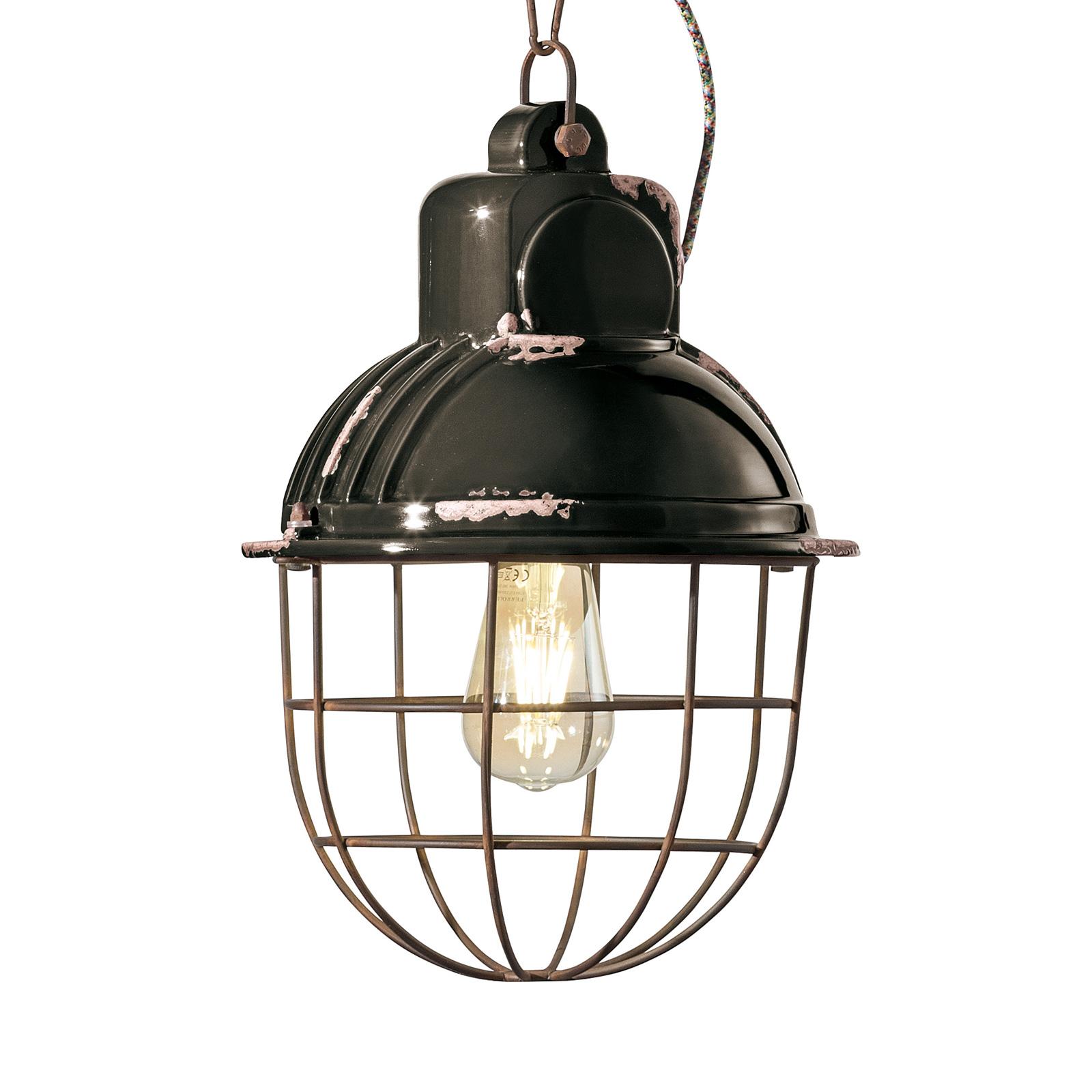 Hanglamp C1770 in industrieel ontwerp, zwart