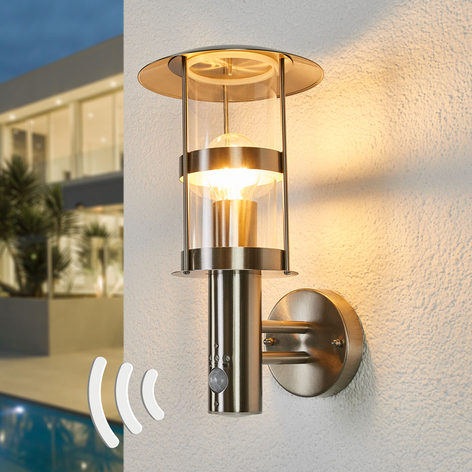 Sensor-Außenwandlampe Noemi aus Edelstahl