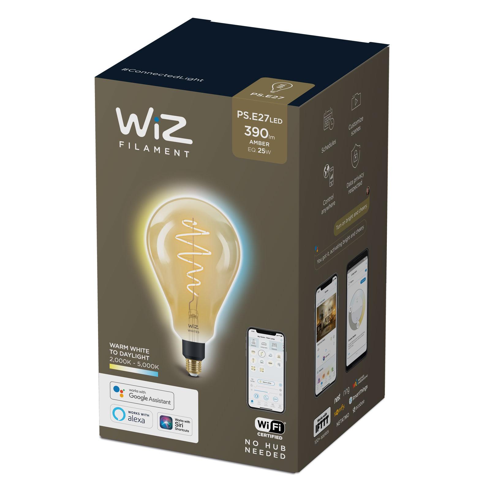 WiZ LED filament PS160 E27 6,5W bursztynowa