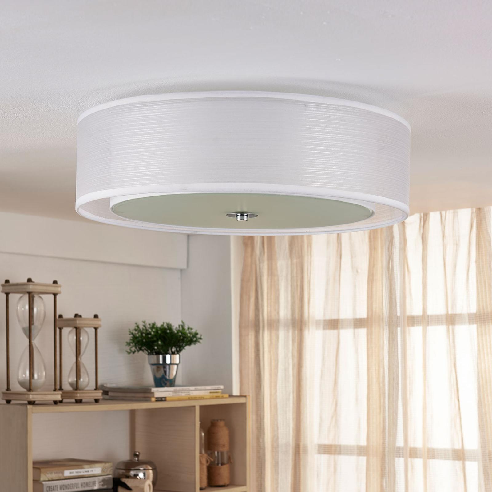 Plafonnier LED Tobia Easydim en tissu blanc