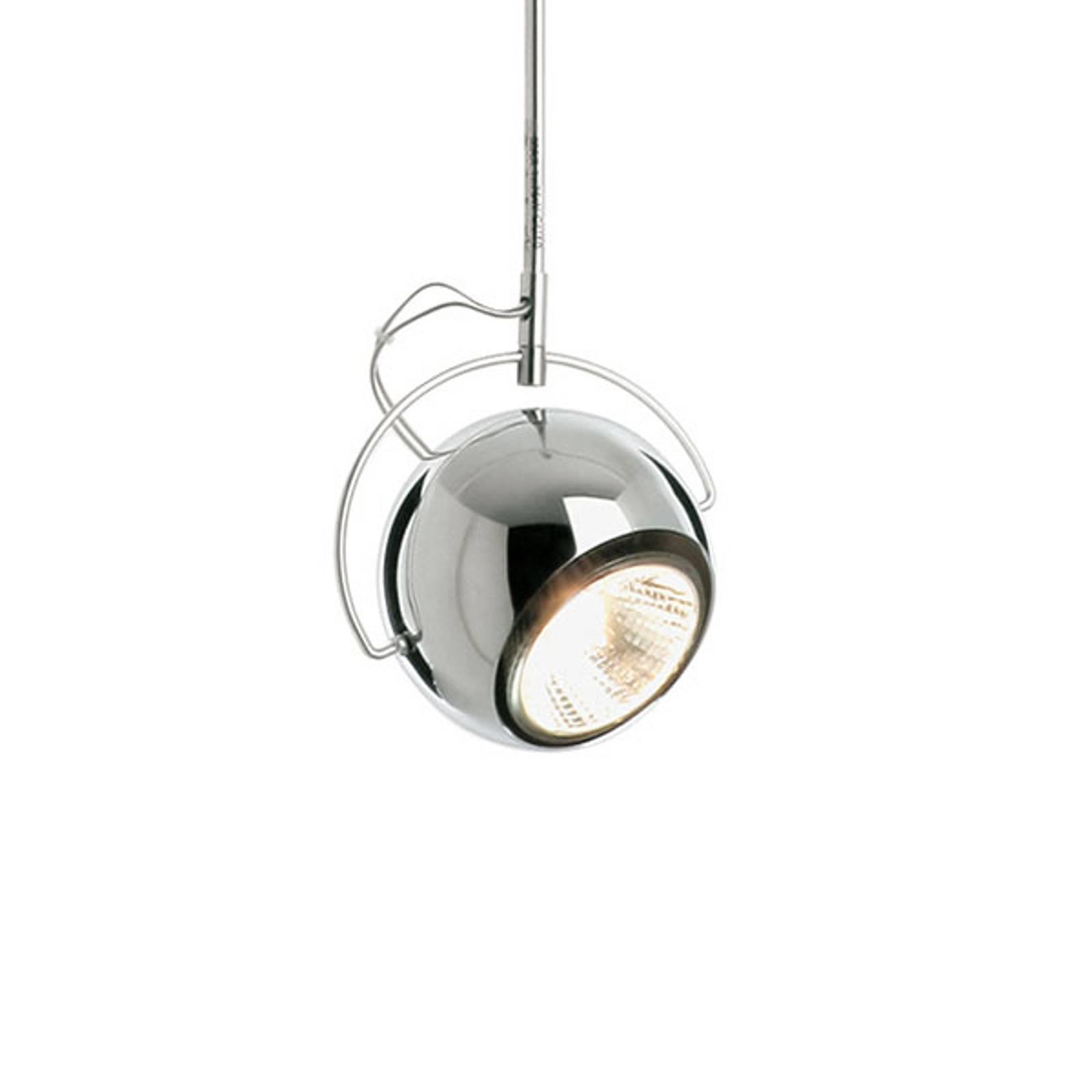 Fabbian Beluga staal chroom-hanglamp, Ø 9 cm