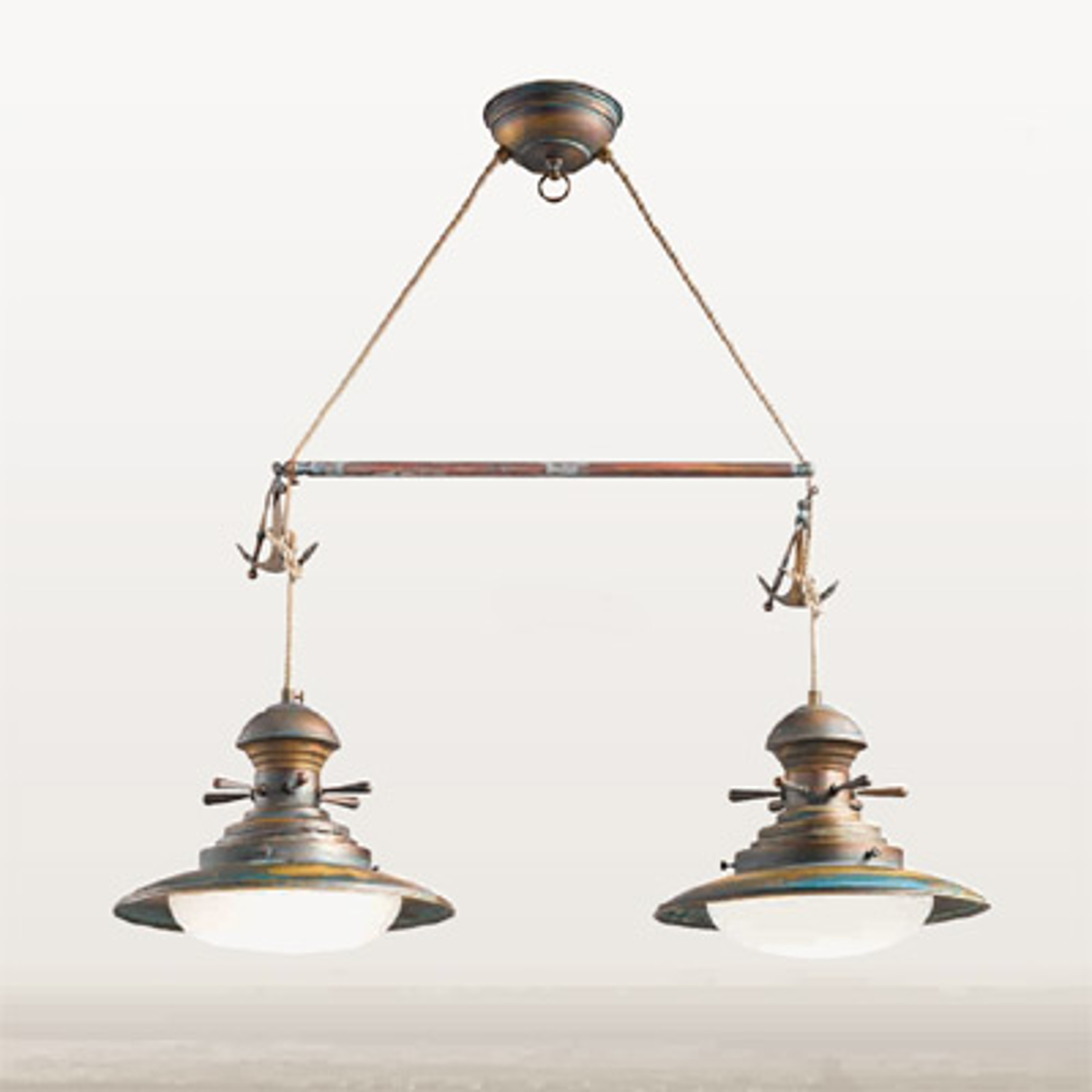 Lampa wisząca Baia 2-punktowa zielona brązowana