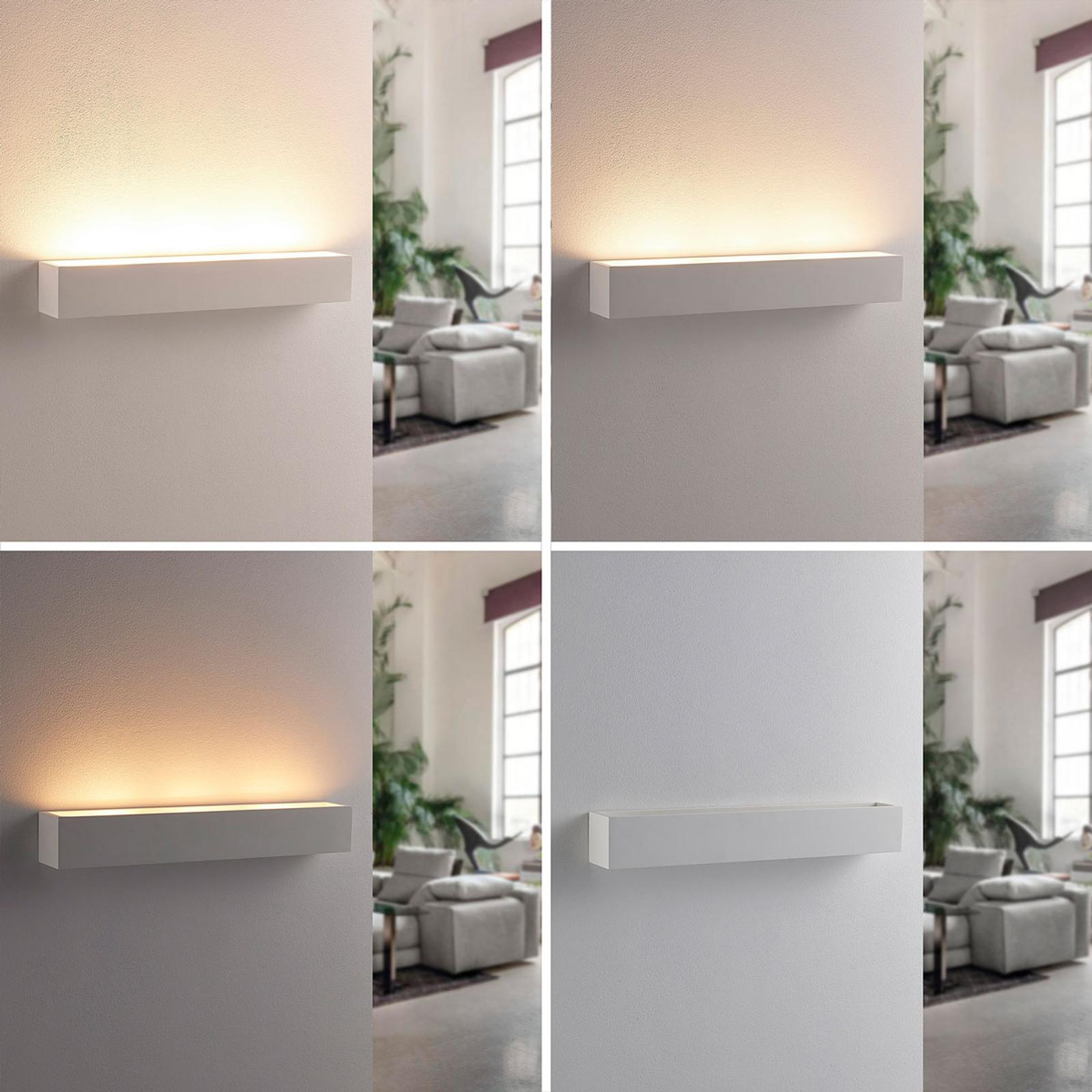 Applique murale LED en plâtre blanc Santino carrée