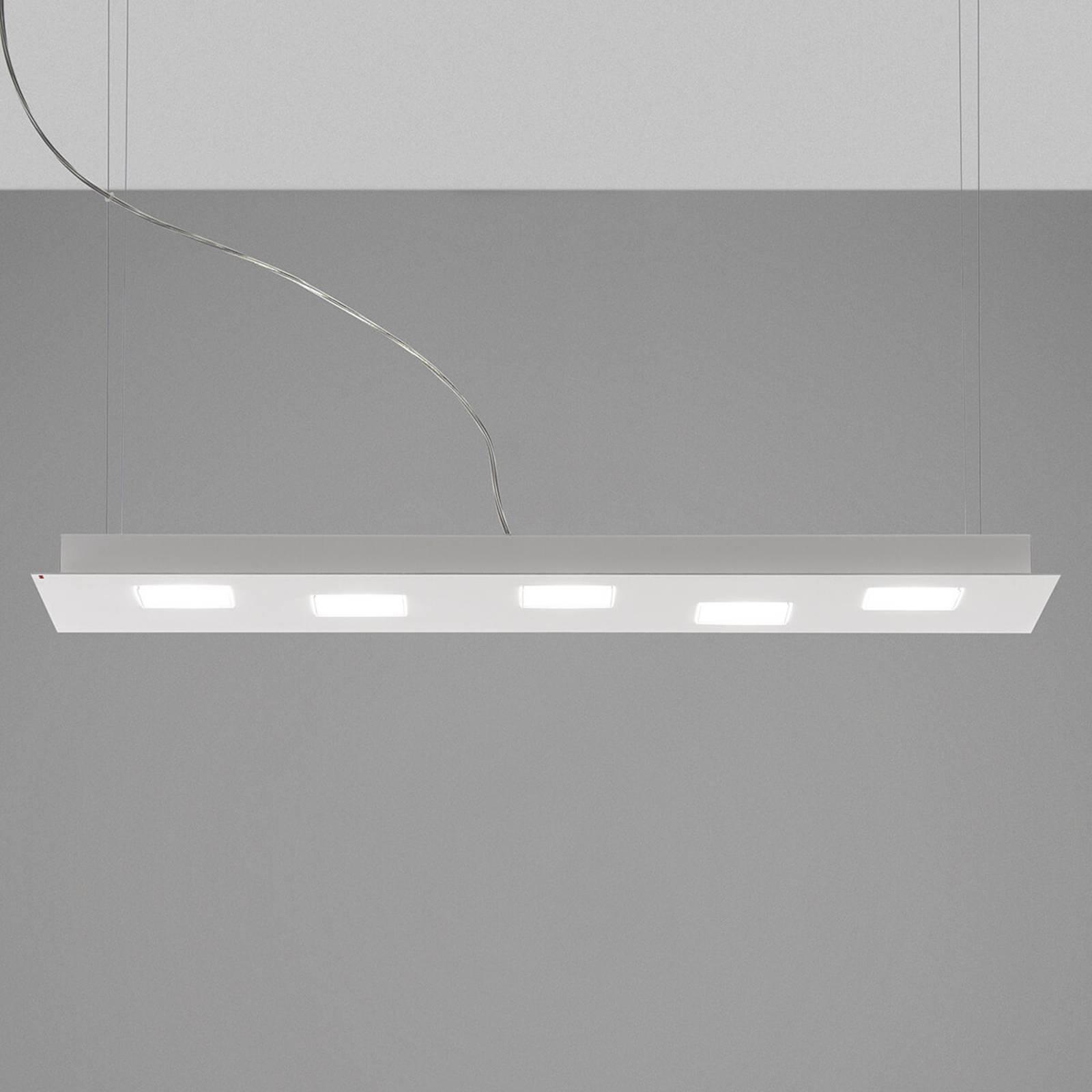 Podłużna lampa wisząca LED Quarter, biała