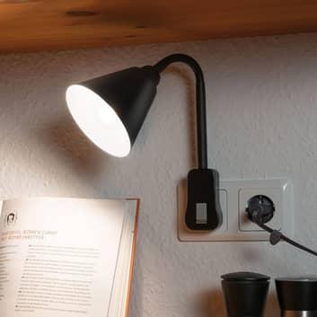 Paulmann Junus stickkontaktlampa, flexarm, svart