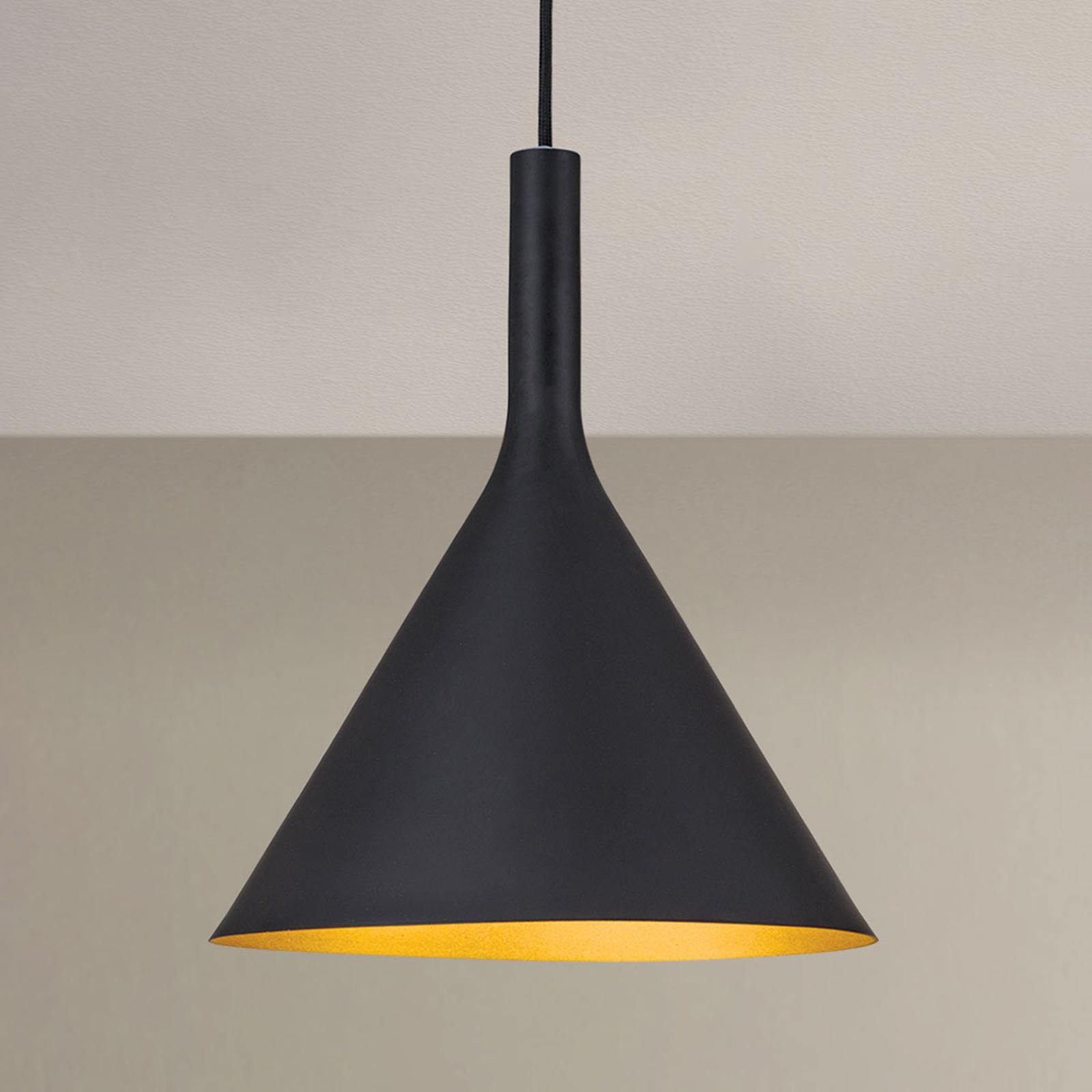 Lampa wisząca Gunda, czarno-złota