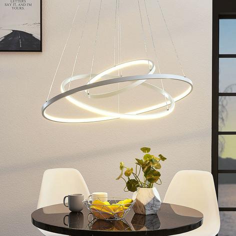 LED-pendellampe Ezana med tre ringer, hvit