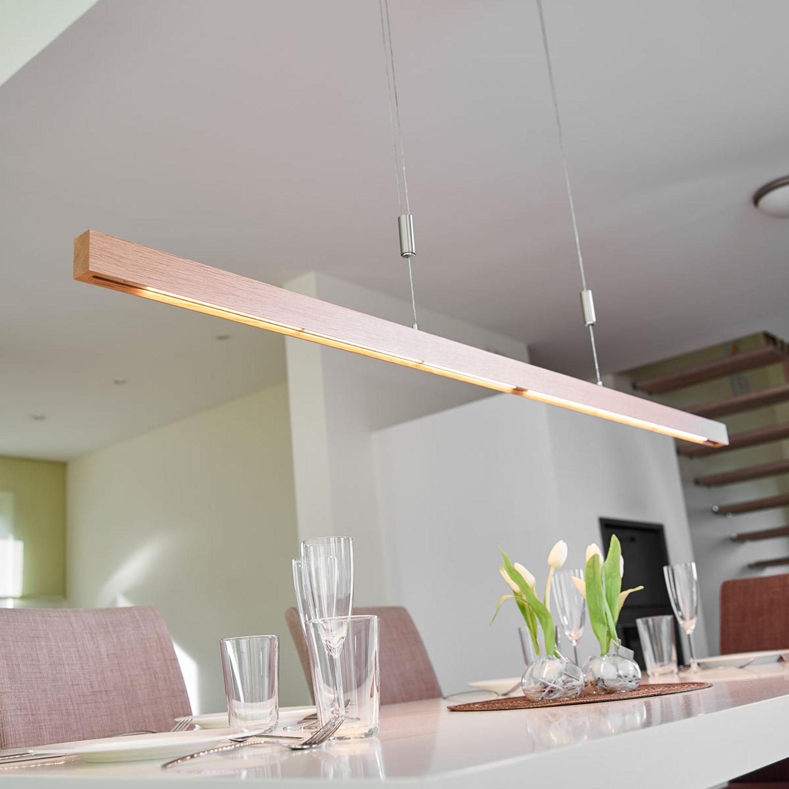 LED-bjelkependellampe i eiketre Nora - 158 cm