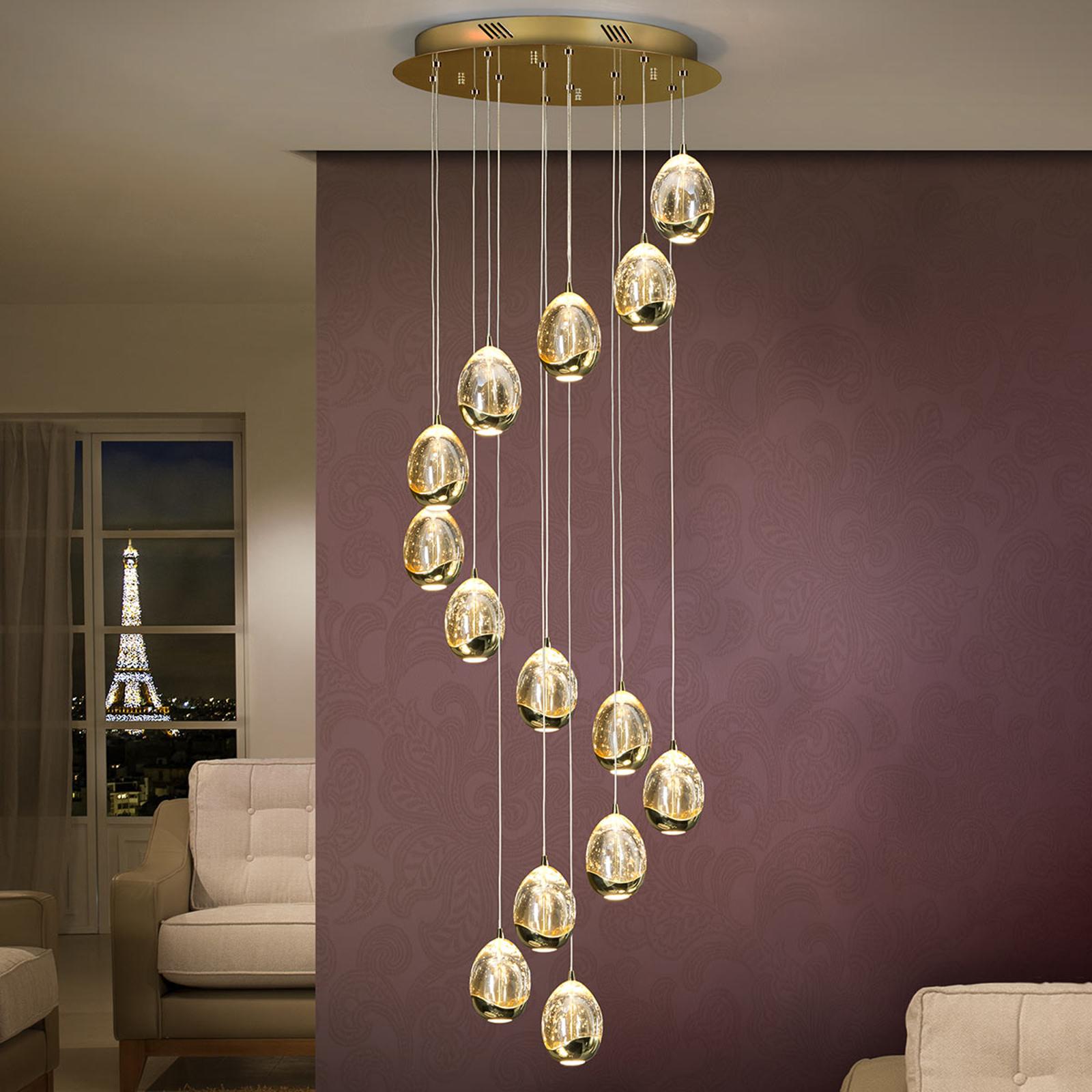 LED-pendellampe Rocio, 14 lyskilder, gull