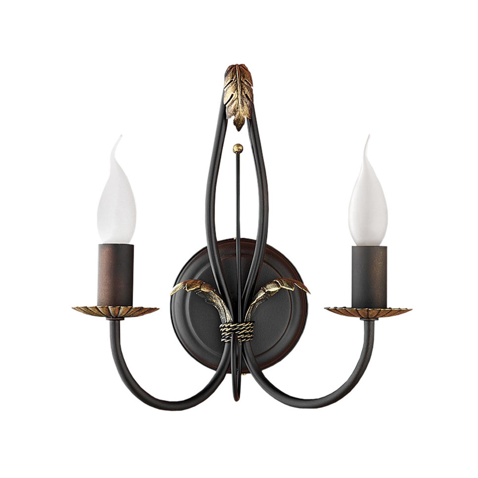 Bari væglampe, patineret, 2 lyskilder