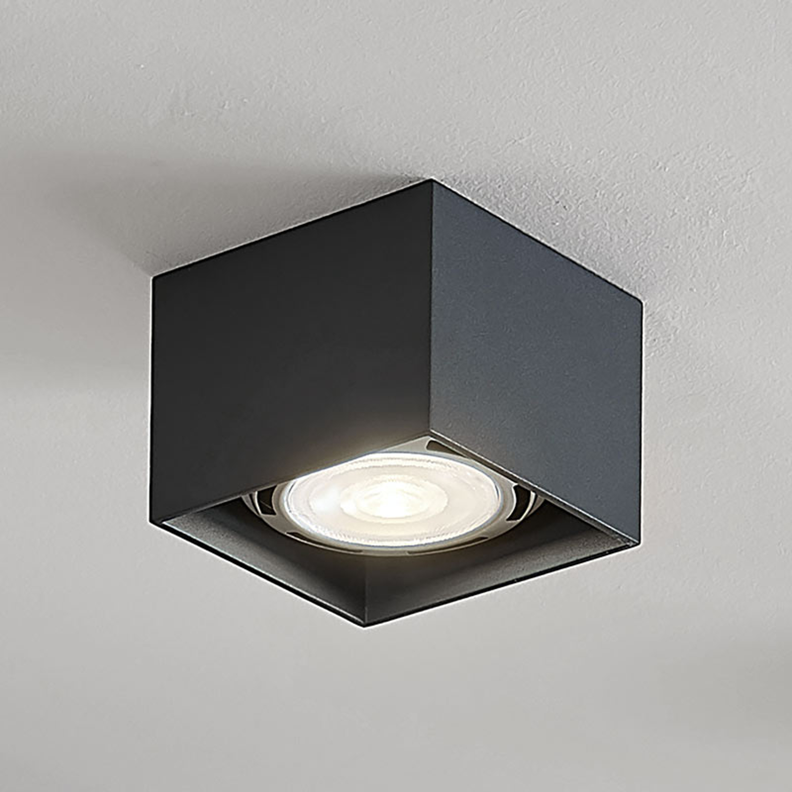 Spot pour plafond LED Mabel, carré, gris foncé