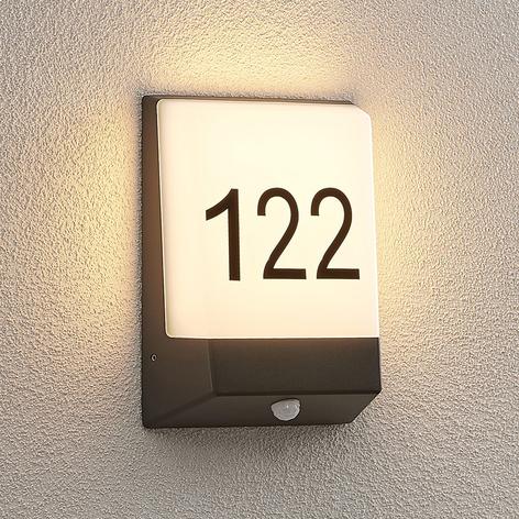 Lucande Kosman LED huisnummer lamp, sensor