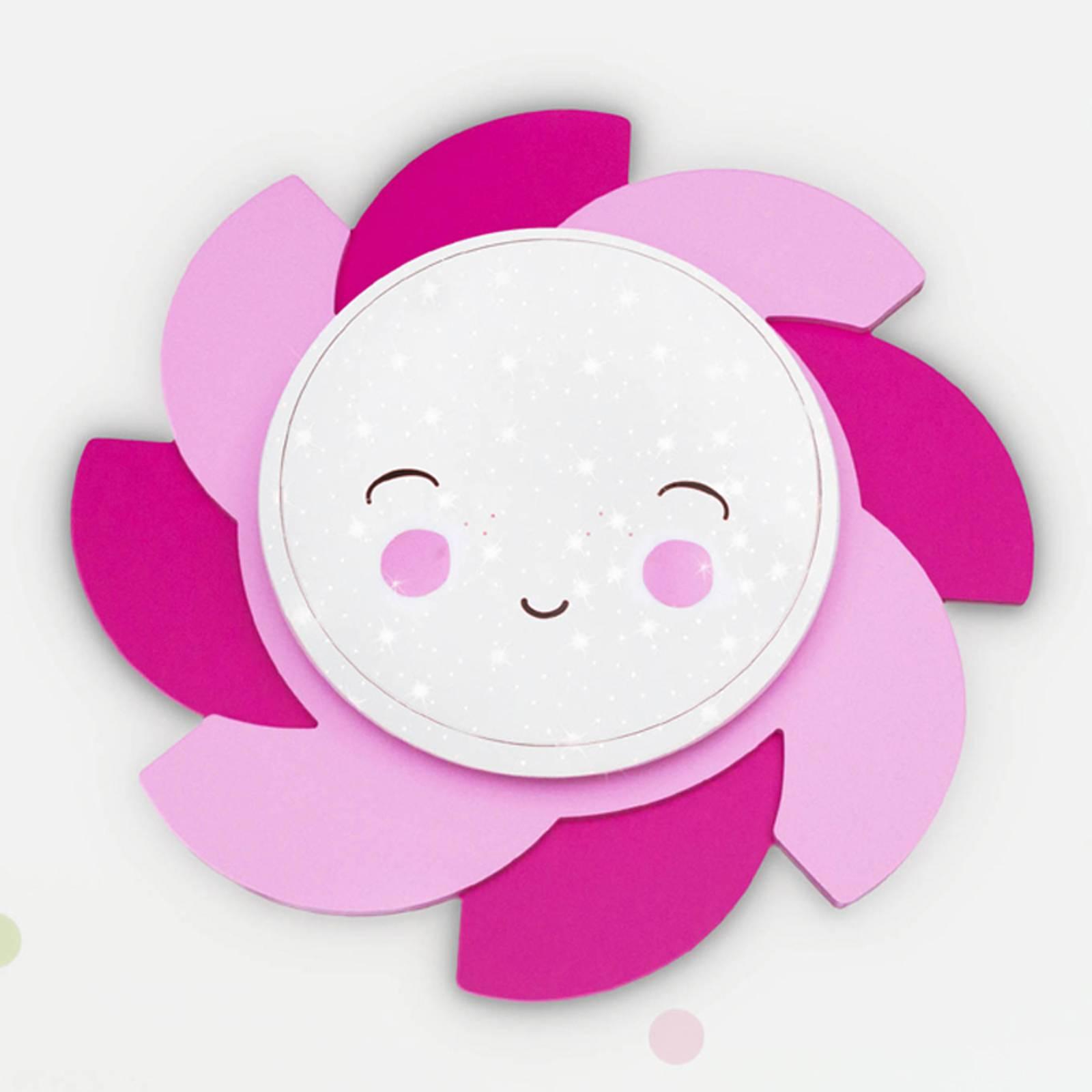 LED wandlamp zon Starlight Smile, roze