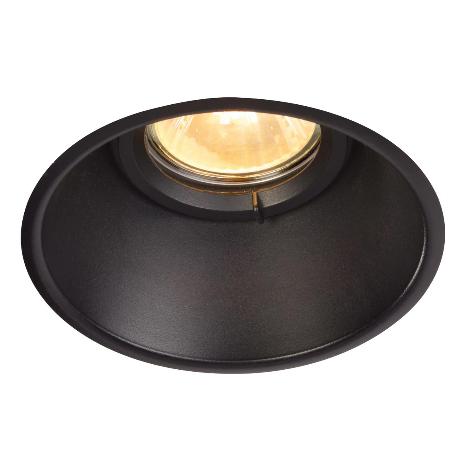 Discreta lampada da incasso a soffitto Horn-O nera