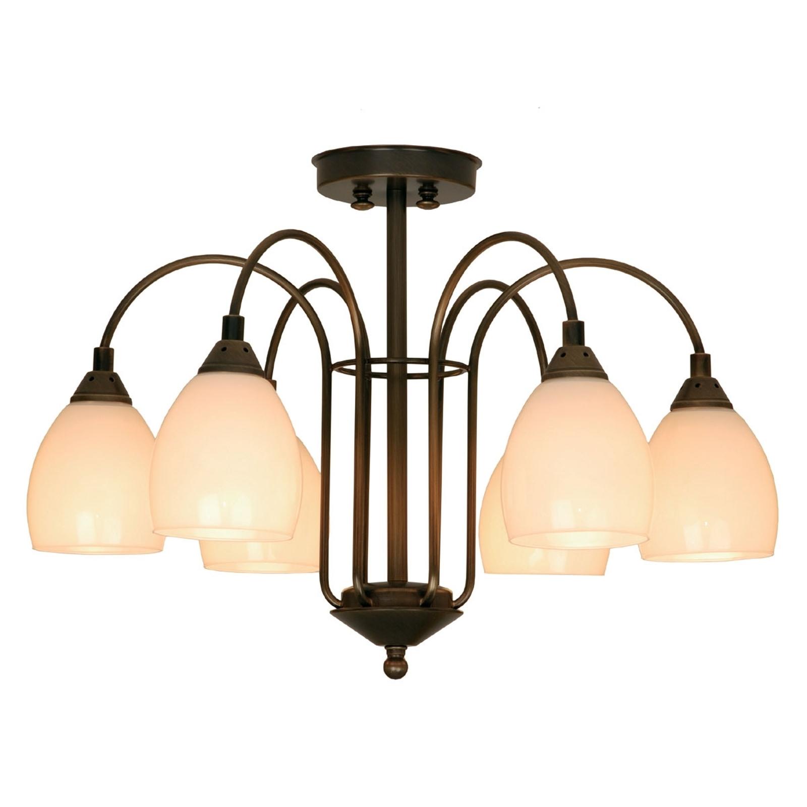 ANNO 1900 stilfuld loftlampe med 6 pærer