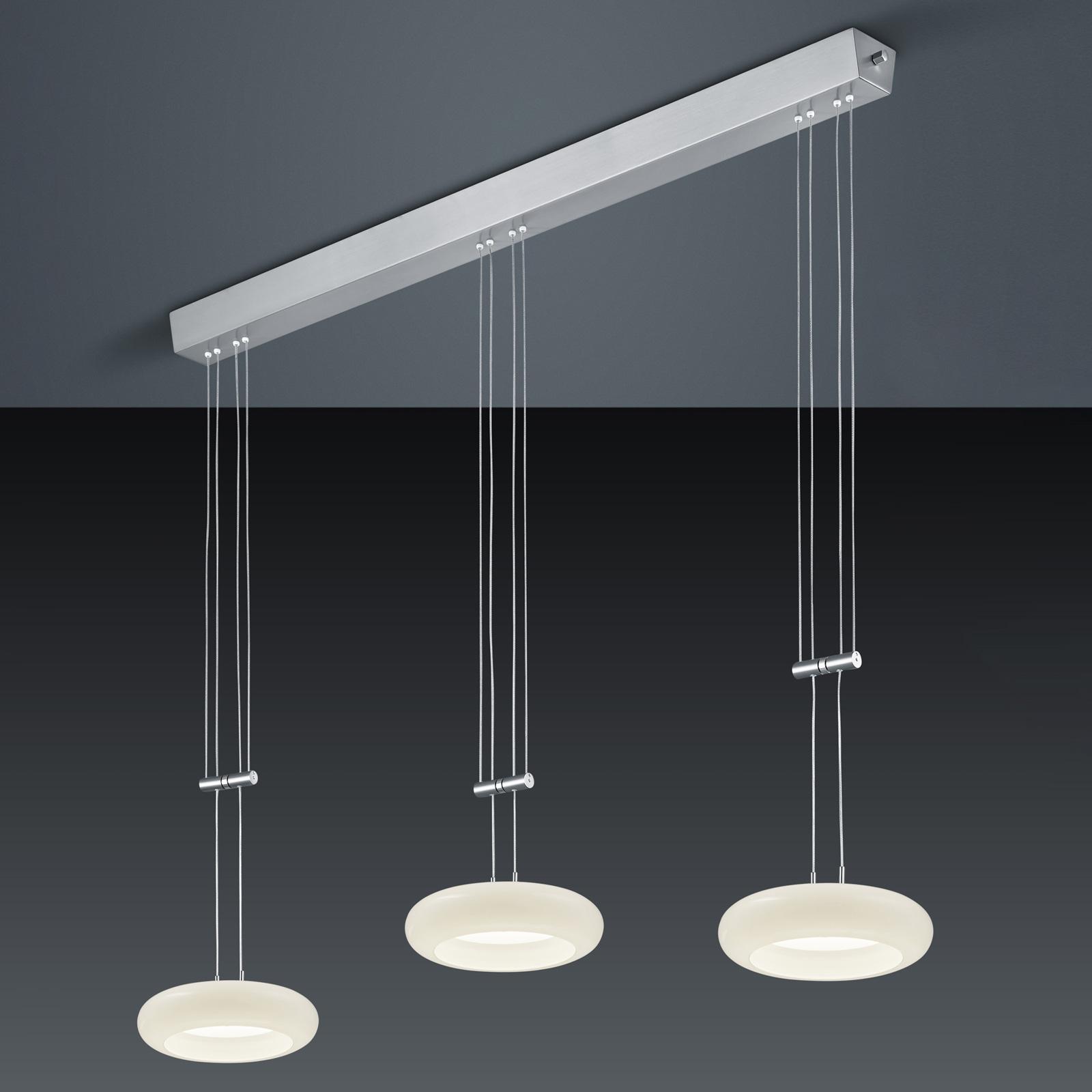 BANKAMP Centa hanglamp 3-lamps nikkel