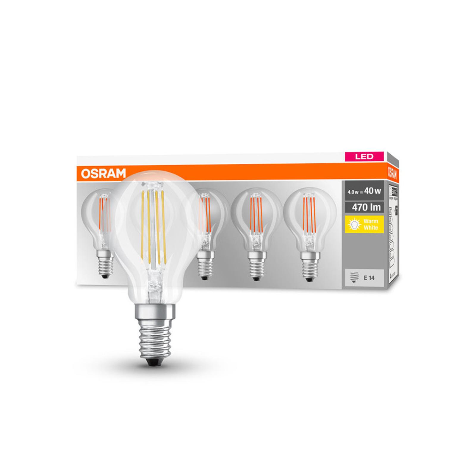 OSRAM LED-Lampe E14 P40 4W Filament 827 470lm 5er