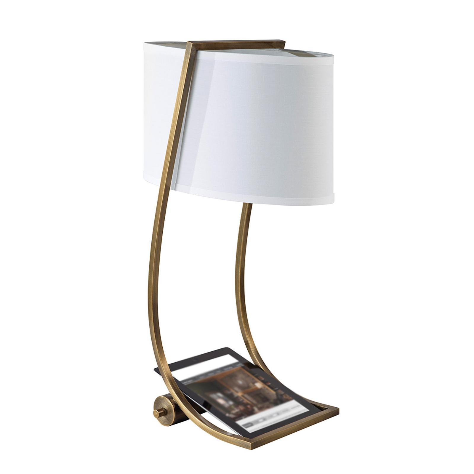Avec port USB - lampe à poser textile Lex laiton