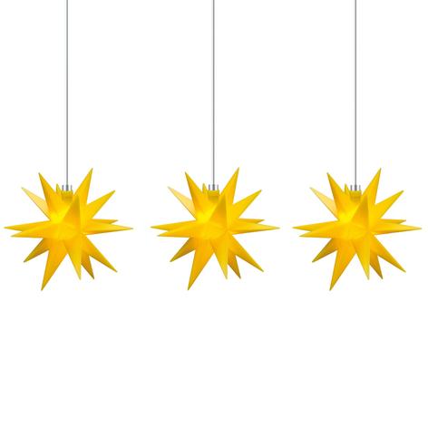 Ljusslinga stjärna inne, 18 uddig, 3 lampor