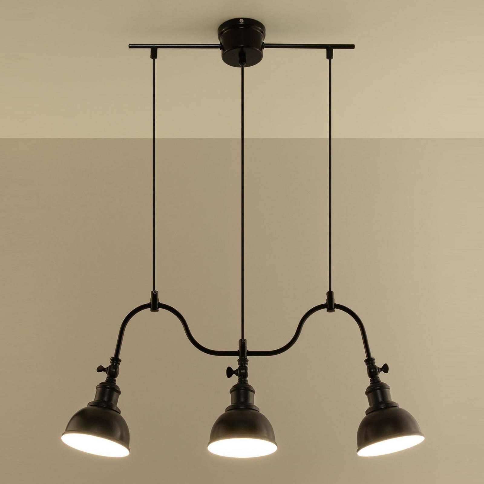 EULUNA Závěsné světlo Smak z černé oceli, tři zdroje