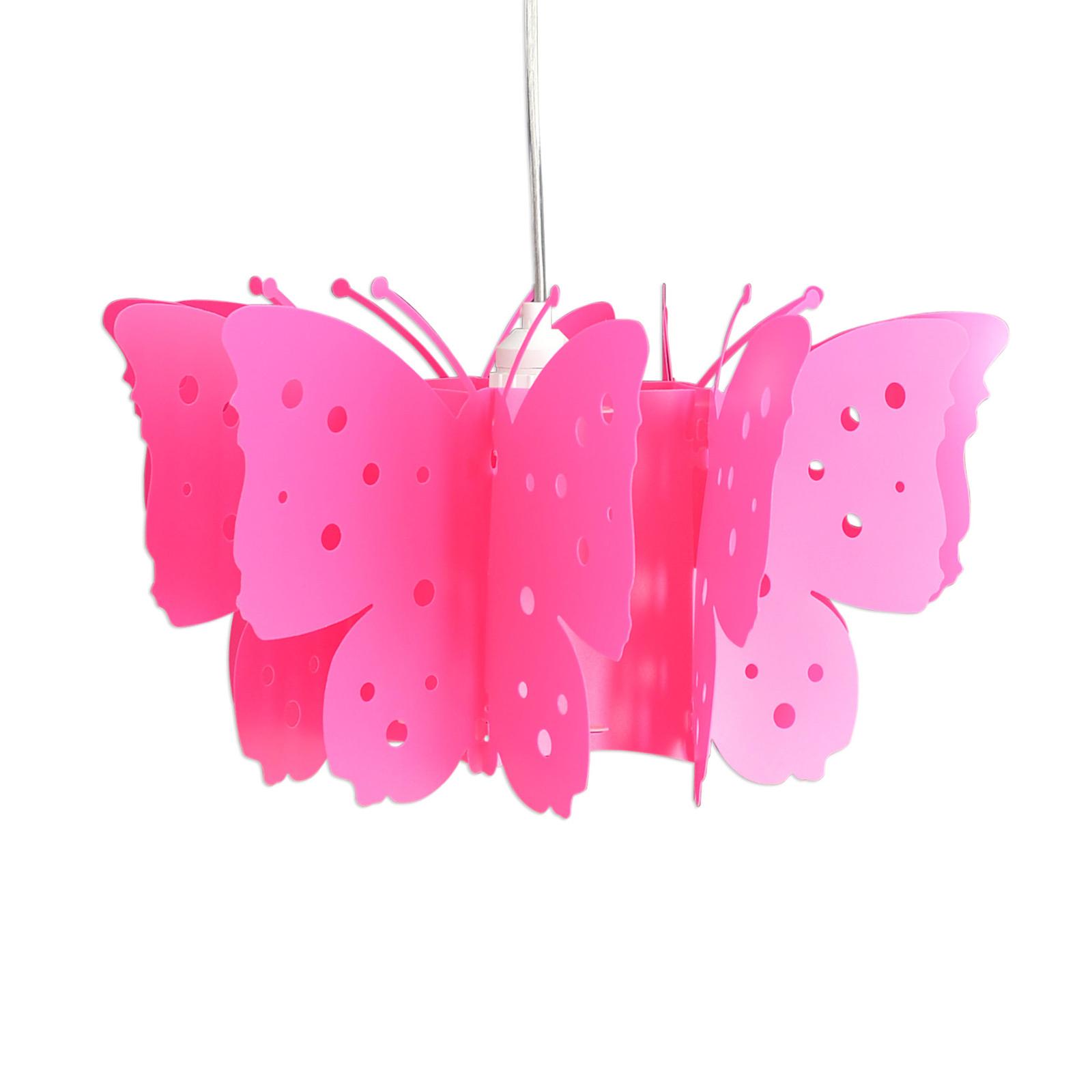 Kizi hengelampe i rosa med sommerfugler