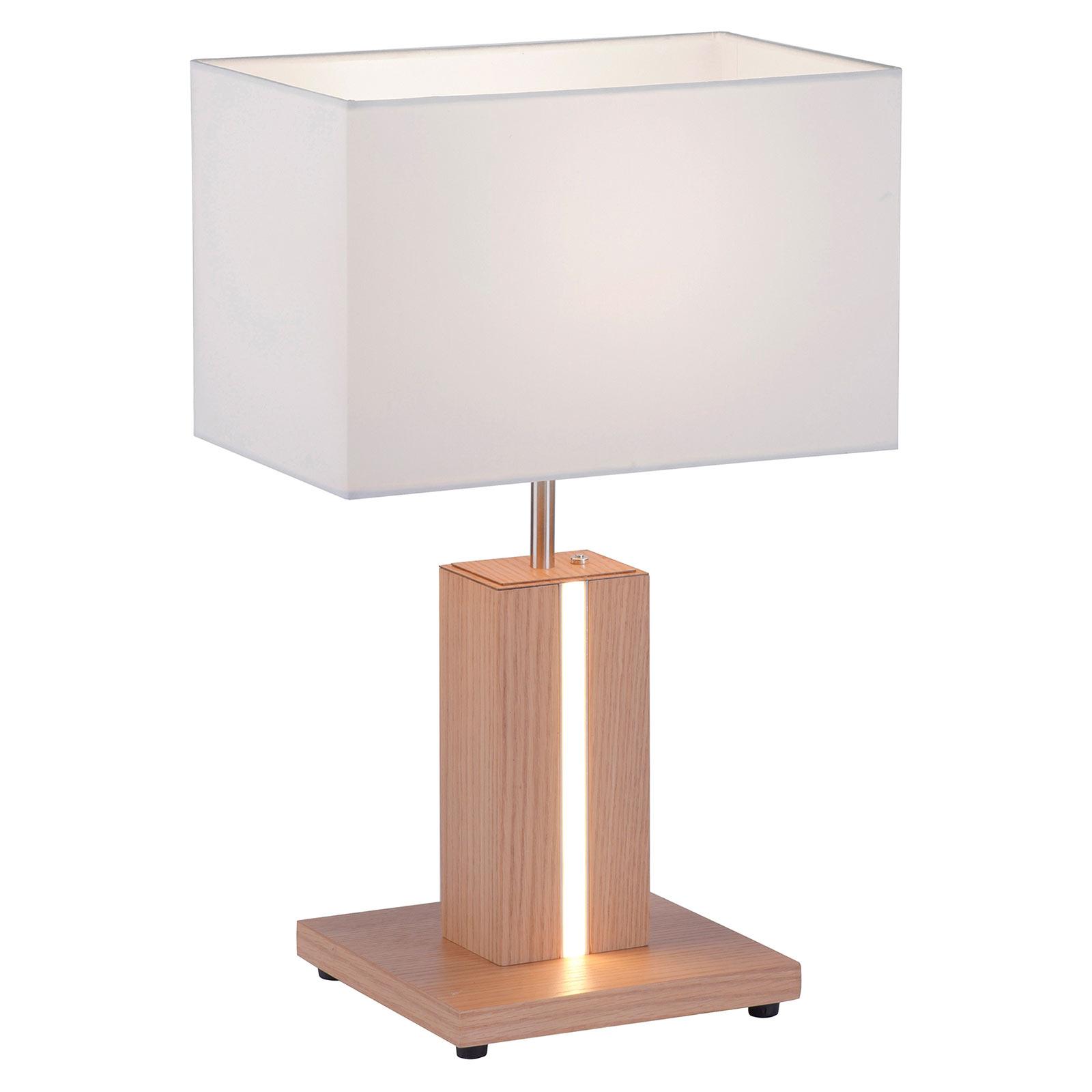 Lampa stołowa Amanda drewno dwa źródła światła