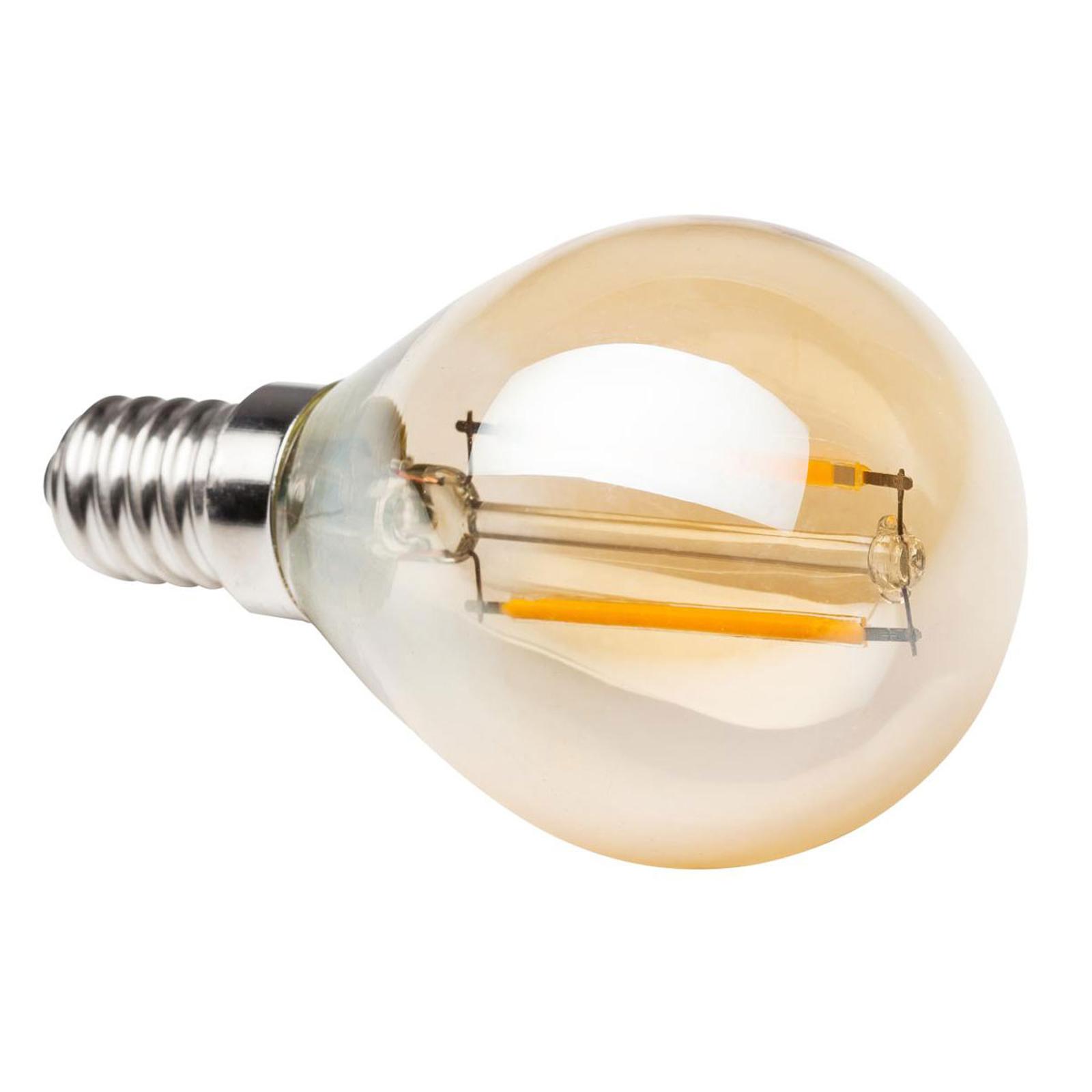 E14 2W 820 LED-Tropfenlampe gold