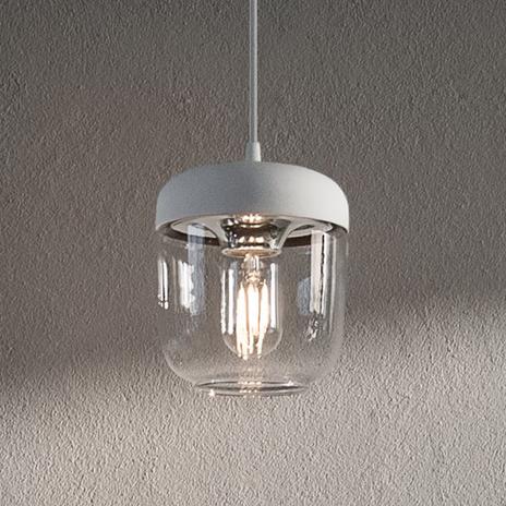 UMAGE Acorn lampa wisząca biała/stal, 1-punktowa