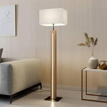 Stoffen vloerlamp Garry met houten montuur, hoekig