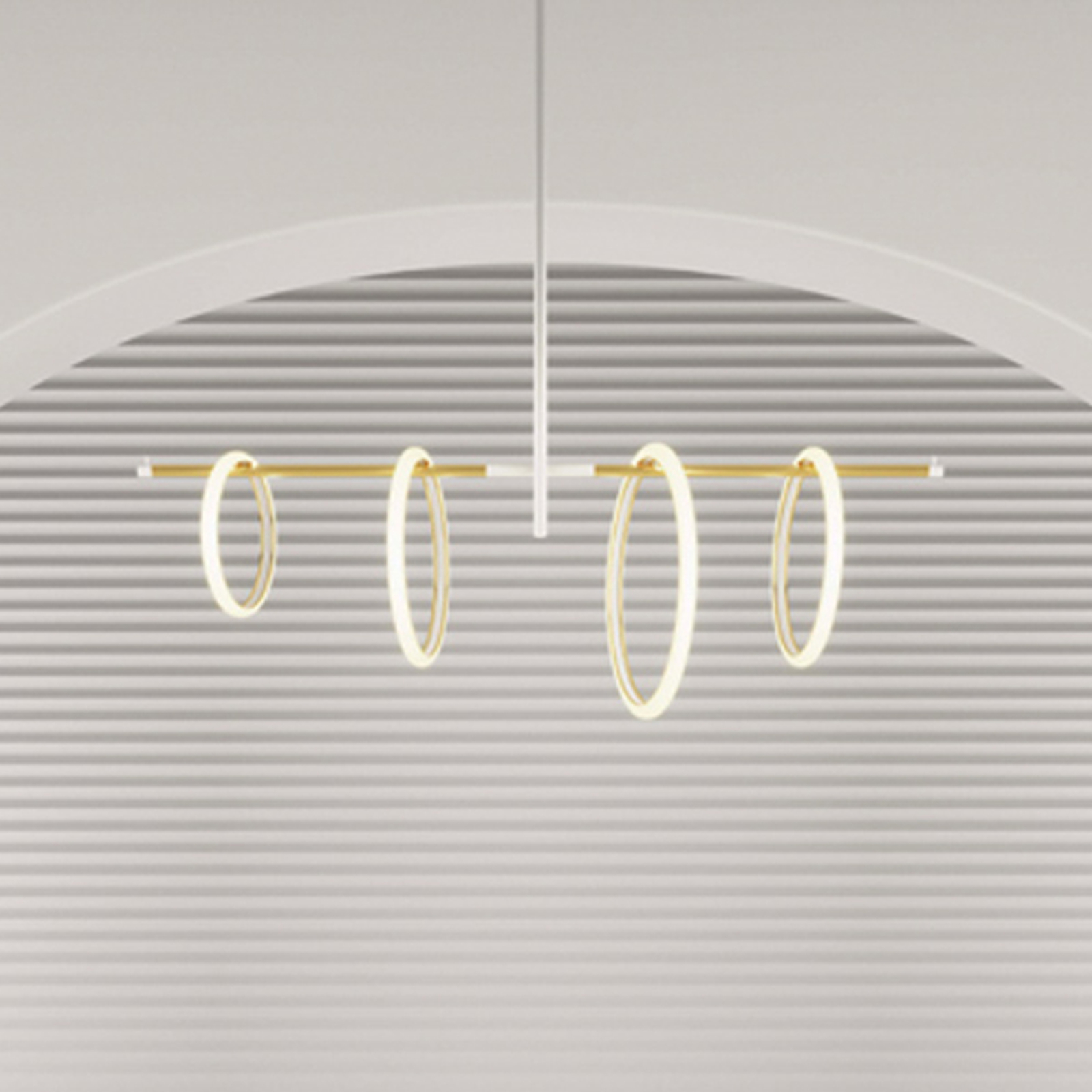 Ulaop LED-hængelampe, fire ringe, hvid