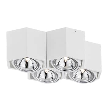Faretto soffitto Elvas, orientabile 4 luci, bianco