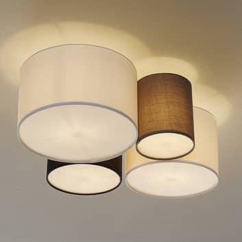 Lampa sufitowa Hotel, cztery tekstylne klosze
