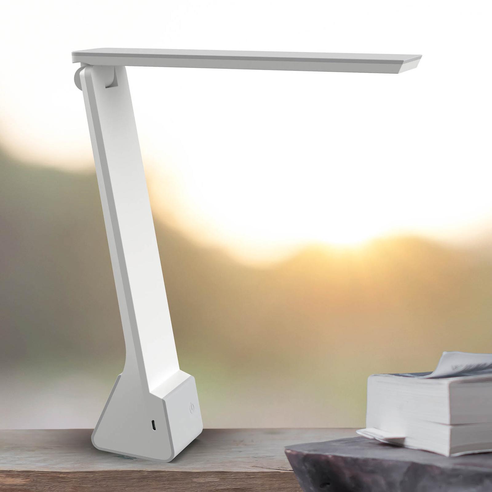 LED-skrivbordslampa MAULseven med batteri, grå