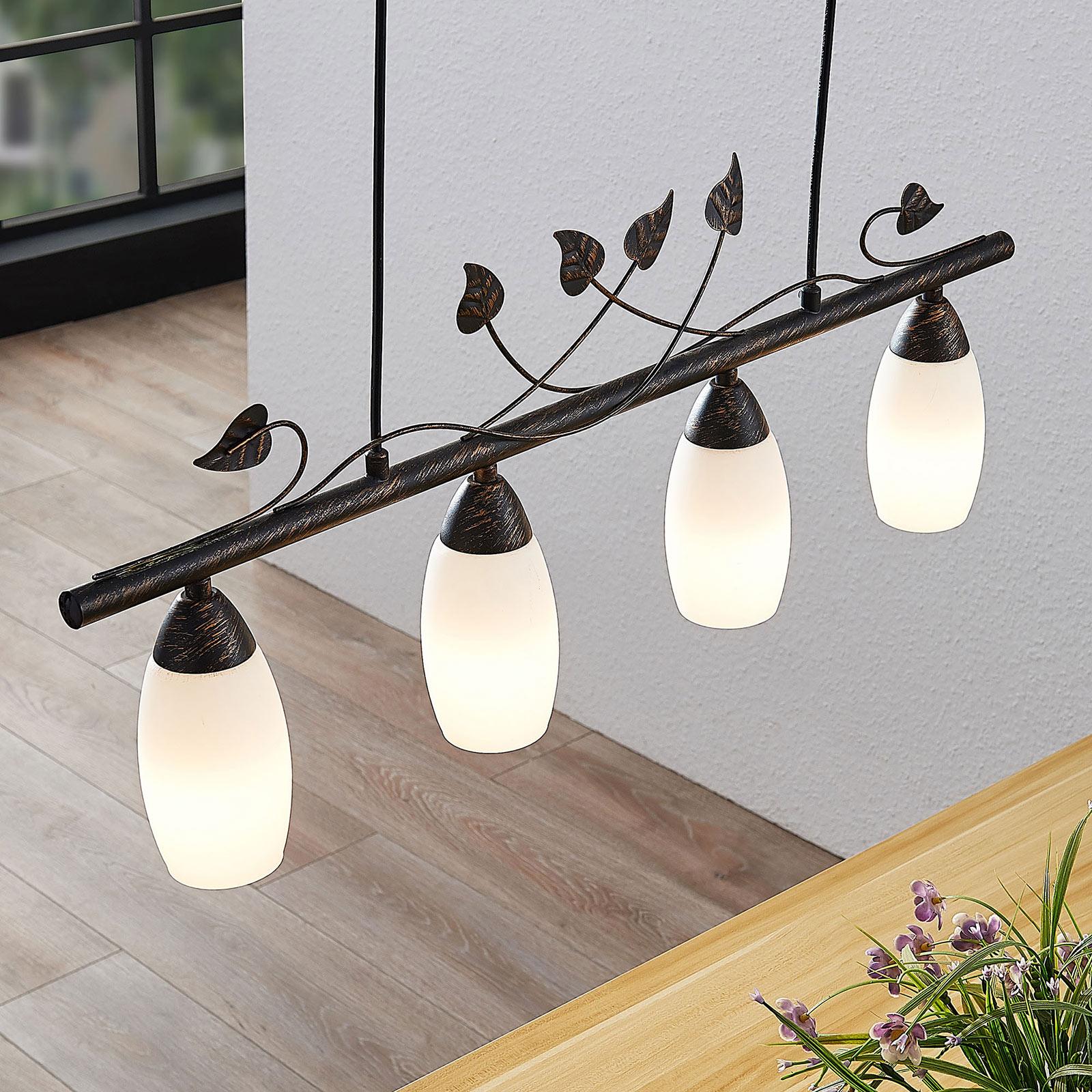 Lindby Isalie LED-Balkenpendelleuchte, vierflammig