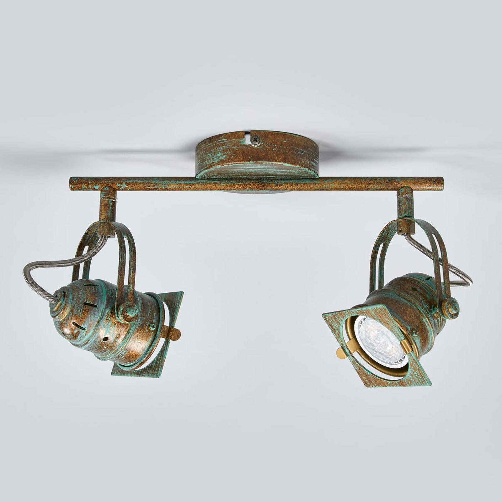 Antik aussehender LED-Strahler Janek, Grünspanlook