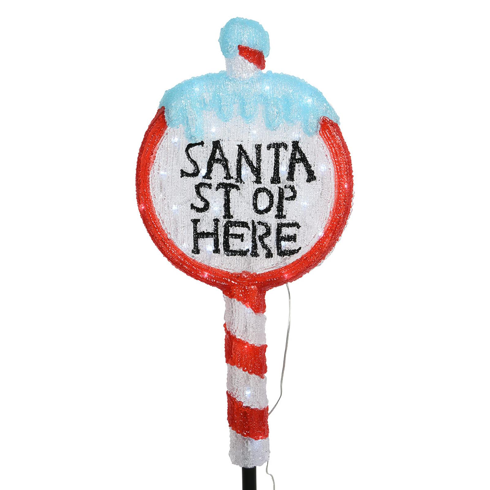 Figurine LED acrylique Panneau Stop Père Noël