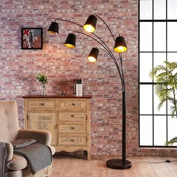 Standerlampe Tinne i tekstil med fem lyskilder